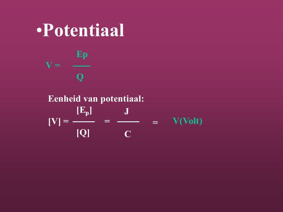 Potentiaal Ep V = Q Eenheid van potentiaal: [Ep] [V] = = J [Q] =